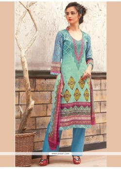 Invigorating Print Work Cotton Designer Palazzo Suit