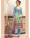 Invigorating Print Work Cotton Designer Palazzo Suit