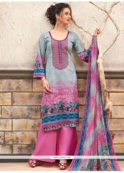 Ruritanian Cotton Multi Colour Print Work Designer Palazzo Suit