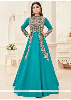 Mouni Roy Turquoise Floor Length Anarkali Suit