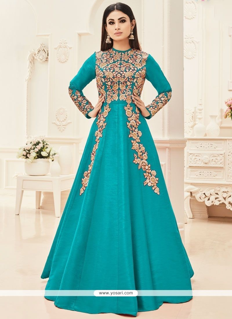 5d5237e8658a Buy Mouni Roy Turquoise Floor Length Anarkali Suit