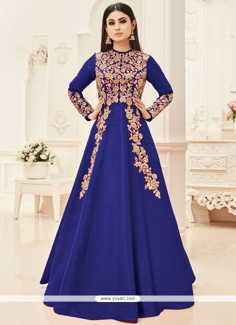 Mouni Roy Embroidered Work Blue Art Silk Floor Length Anarkali Suit