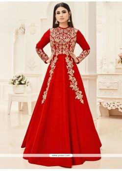 Mouni Roy Art Silk Floor Length Anarkali Suit