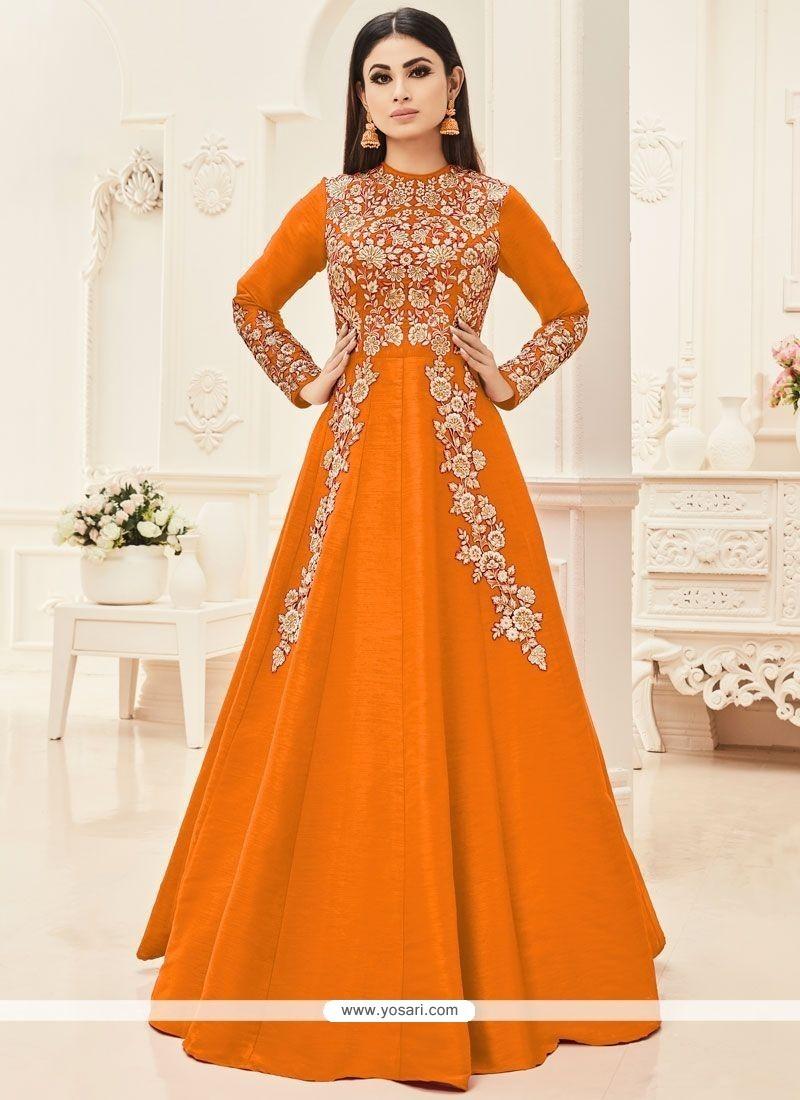 Mouni Roy Orange Art Silk Floor Length Anarkali Suit