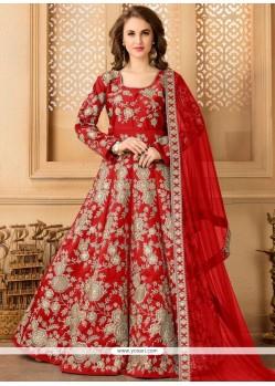 Cute Resham Work Tafeta Silk Floor Length Anarkali Suit