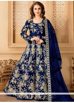 Embroidered Tafeta Silk Floor Length Anarkali Suit In Navy Blue