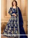 Embroidered Tafeta Silk Floor Length Anarkali Suit In Navy Blue