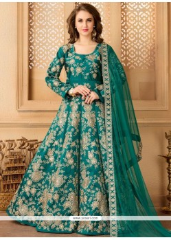 Exotic Tafeta Silk Resham Work Floor Length Anarkali Suit