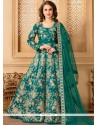 Exotic Tafeta Silk Resham Work Floor Length Anarkali Suit