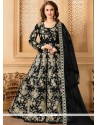 Cute Resham Work Black Tafeta Silk Floor Length Anarkali Suit