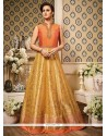 Glitzy Orange And Yellow Embroidered Work Floor Length Anarkali Suit