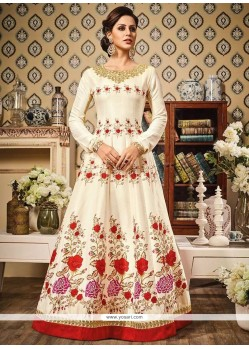 Engrossing Chanderi Embroidered Work Floor Length Anarkali Suit