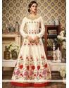 Engrossing Chanderi Embroidered Work Floor Length Anarkali Suit