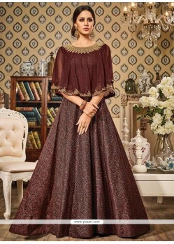 Ravishing Resham Work Brown Floor Length Anarkali Suit