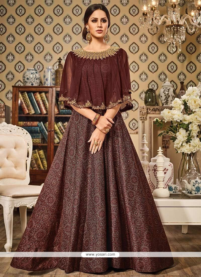 Ravishing Resham Work Brown Floor Length Anarkali Suit