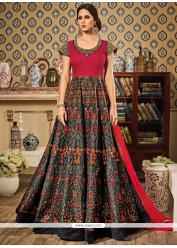 Princely Multi Colour Print Work Floor Length Anarkali Suit