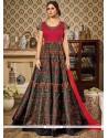 Princely Multi Colour Print Work Floor Length Anarkali Suit