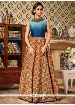 Captivating Print Work Art Silk Floor Length Anarkali Suit