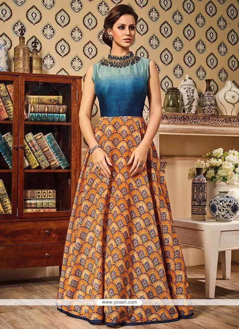 Captivating Print Work Art Silk Floor Length Anarkali Suit