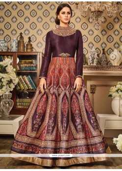 Gratifying Art Silk Wine Floor Length Anarkali Suit