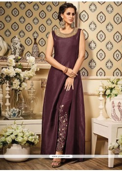 Marvelous Art Silk Resham Work Pant Style Suit