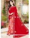 Topnotch Faux Georgette Red Printed Saree