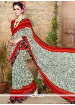 Majestic Faux Georgette Grey And Red Printed Saree