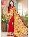 Whimsical Red Print Work Jacquard Printed Saree