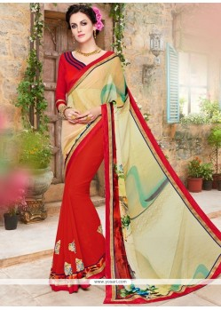 Fetching Print Work Red Printed Saree
