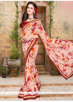 Aspiring Multi Colour Print Work Faux Georgette Printed Saree