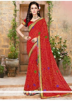 Compelling Red Print Work Printed Saree