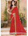 Compelling Red Print Work Printed Saree