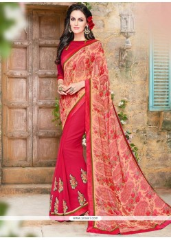Pristine Print Work Faux Georgette Printed Saree