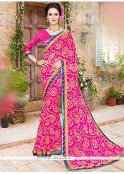 Chic Faux Georgette Print Work Printed Saree