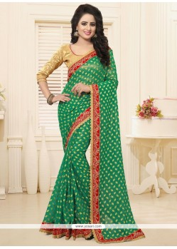 Capricious Green Patch Border Work Classic Saree
