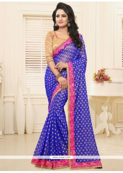 Desirable Blue Faux Georgette Classic Saree