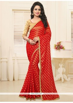 Conspicuous Faux Georgette Patch Border Work Classic Designer Saree