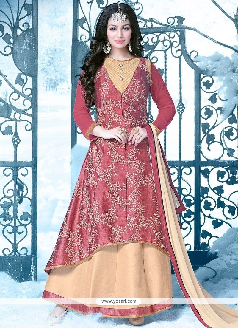 Ayesha Takia Beige And Pink Resham Work Floor Length Anarkali Salwar Suit