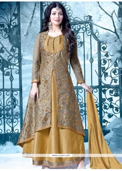 Ayesha Takia Lace Work Brown And Mustard Floor Length Designer Salwar Suit