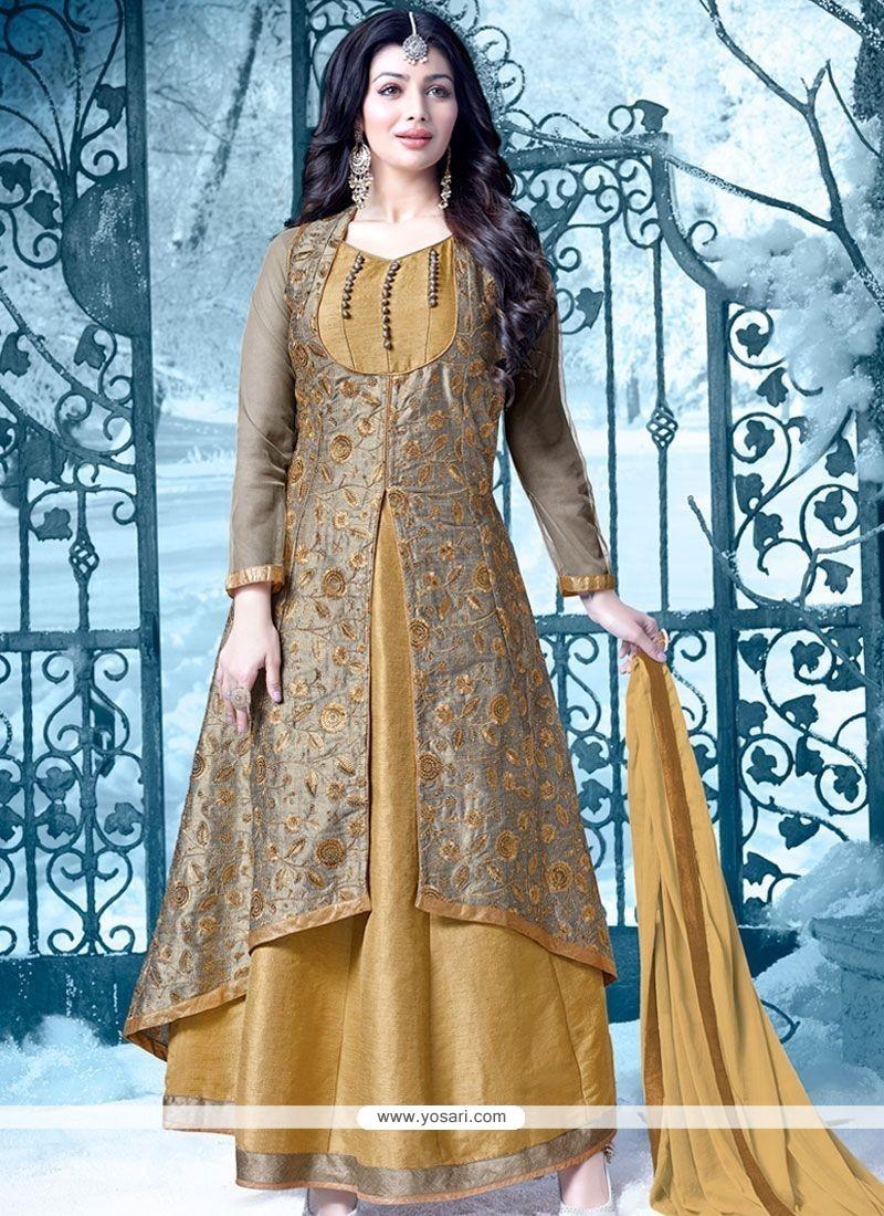 Ayesha Takia Lace Work Brown And Mustard Floor Length Designer Salwar Suit