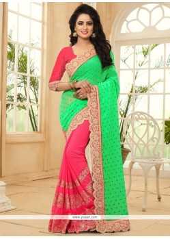 Glamorous Faux Georgette Green And Pink Patch Border Work Designer Half N Half Saree