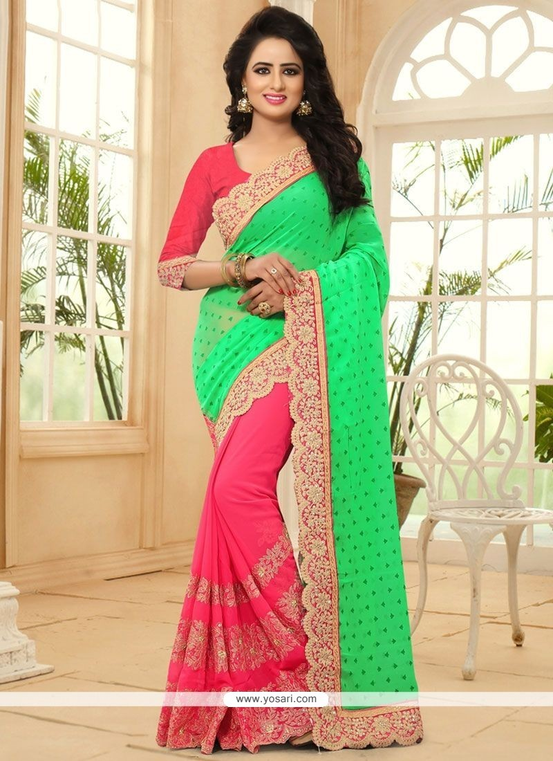 Glamorous Faux Georgette Green And Pink Patch Border Work Designer Half N Half Saree
