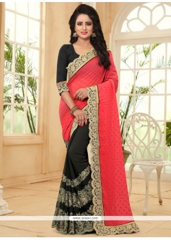 Lively Embroidered Work Half N Half Designer Saree