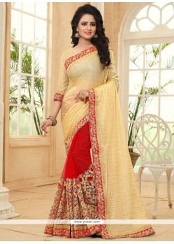 Festal Cream And Red Patch Border Work Lycra Half N Half Saree