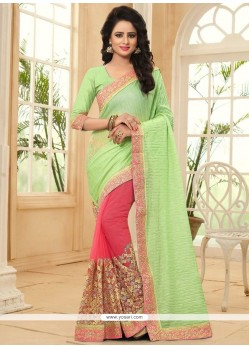 Extraordinary Net Embroidered Work Designer Half N Half Saree