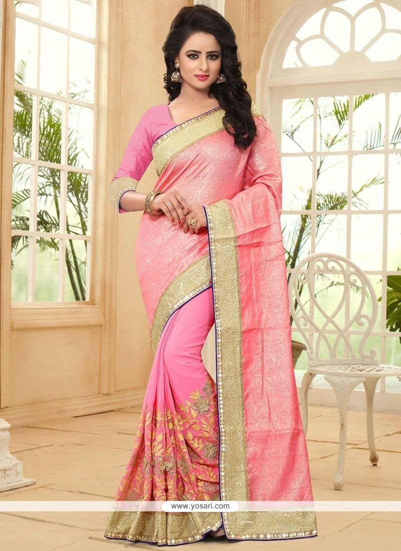 Epitome Pink Patch Border Work Faux Georgette Classic Saree