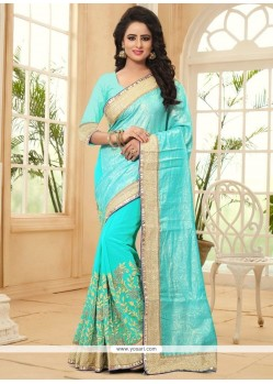 Incredible Turquoise Designer Saree