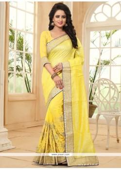 Conspicuous Yellow Jacquard Classic Saree