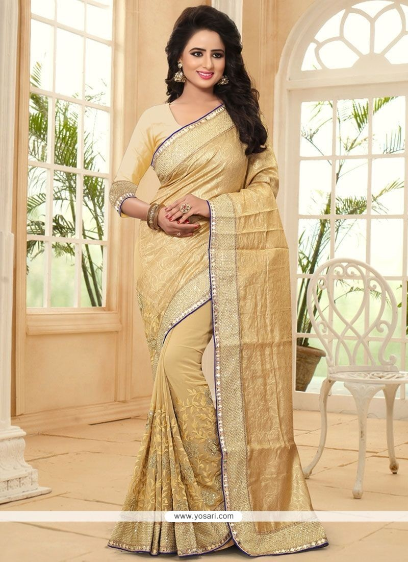 Remarkable Faux Georgette Embroidered Work Classic Saree