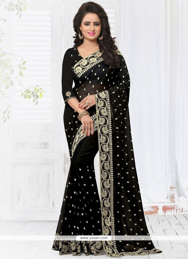 Glamorous Embroidered Work Faux Georgette Classic Saree